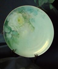 """Haviland 9"""" Plate Hand-Painted Original, Signed by Tremaine ~ White Tea Roses"""