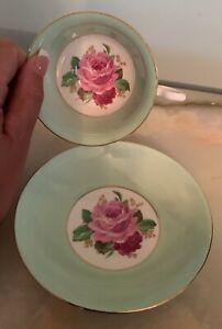 Vintage Taylor & Kent Tea Cup & Saucer Bone China England Green w Pink Roses