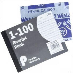 SMALL A6 RECEIPT BOOKS Cash Notepad/Invoice Pad 1-100 Numbered Pages Notebook