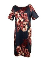 ADINI Floral Stretchy Cotton Shift Day Dress Size L2 18 Short Sleeve Knee Length