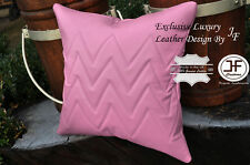 "1X EXCLUSIVE LUXURY GENUINE LEATHER CUSHION PINK ZIG ZAG PADDED 18""x18"""