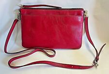 "Fossil Red Detachable 49"" Shoulder Strap Leather Purse Wallet Issue # 1954 NWOT"