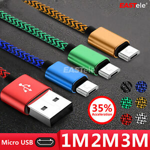 1M/2M/3M Strong Braided Micro USB Data Charger Cable Cord For Android Samsung