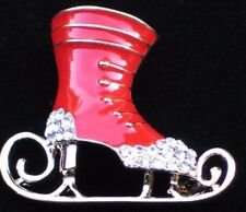 "CHRISTMAS RED CLEAR RHINESTONE ICE SKATE SKATING PIN BROOCH JEWELRY 1.5"" LRG 3D"