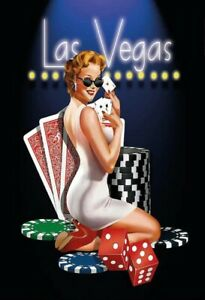 Las Vegas Poker Pin Up Girl Blechschild Schild gewölbt Metal Tin Sign 20 x 30 cm