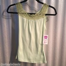 New with Resale tags summer top J. Mode Pastel Green with lace straps Small S