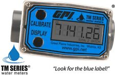 GPI TM100, PVC Turbine Flowmeter for Use with Water & Mild Chemicals, 1-Inch
