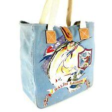 Ralph Lauren Rare Vintage Blue Canvas Bag Anglers Club Sailfish Fishermen Tote