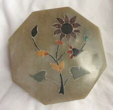 Vintage Never Used Soap Stone Trinket Jewelry Box Made In India 1970s Octagon