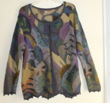 Peruvian Connection M Incredible Fantasy Floral Alpaca Funky Art-to-Wear Sweater