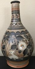 """Large 13⅛"""" VINTAGE Tonala Mexican Pottery Hand Painted Vase, Deer Bird & Floral"""