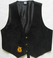 Winnie the Pooh Women's Genuine Leather Suede Vest - Solid Black - Size M/L