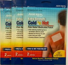 Lot of 3 Assured Extra Strength Cold And Hot Pain Relief Patches 2 in Each Pack