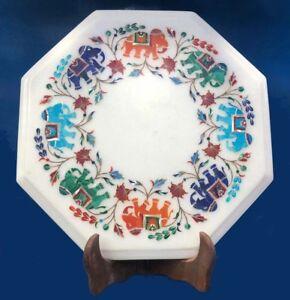 "12"" Marble side Table Inlay semi precious stones pietradura Work handmade"
