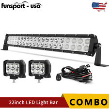 """22inch LED Light Bar Spot Flood Combo + 2x 4"""" Pods + Wiring For Jeep Truck SUV"""