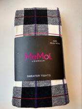 NWT MeMoi Scottish Black White Plaid Tartan Sweater Tights Winter White S/M
