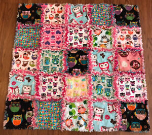 Rag quilt I Love Owls all flannel  handmade in USA #200