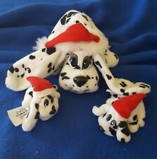 Vintage Set 3 Pound Puppies Santa Hat Dalmatians Christmas Holiday 1995 Galoob