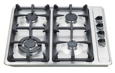 EUROTAG 60cm 4 Burner Gas Cooktop Stainless Steel with Cast Iron Trivets