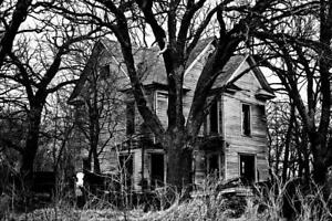 Deserted Farmhouse Black and White B&W Photo Art Print Poster 24x36 inch