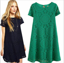 Lace Patternless Round Neck Regular Size Dresses for Women