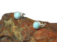 LARIMAR    Sterling  Silver  925   Gemstone  Stud Earrings -  6 mm