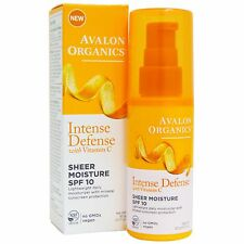 Avalon Organics Intense Defense With Vitamin C, Sheer Moisture SPF 10, 50 g