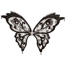 ENCAJE NEGRO Alas De Mariposa Con Diamante Gotas Accesorio de disfraz