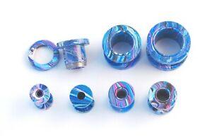 Blue Marble Surgical Steel Flesh Tunnel Ear Plug Screw Body Jewellery Ear Lobe