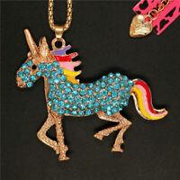 New Betsey Johnson Blue Enamel Crystal Unicorn Horse Sweater Chain Necklace Gift