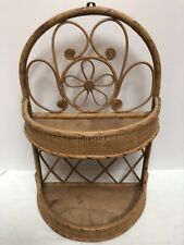 Vintage Wicker Hanging Shelf 2 Tier Rattan Bamboo Boho Natural Finish