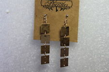 """Squares 2"""" Drop (Pe206) Plunder Earrings (new) Lilianna- Gold"""