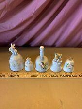 Vintage Porcelain Hand Bells Lot Of 5