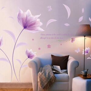 Romantic Purple flower Wall Sticker Love Living Room Bedroom for Home Decor