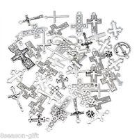 30PCs Dull Silver Tone Mixed Cross Shape Pendants Fashion Charm Jewelry