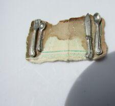 Dollhouse Utensils Set Pewter Hand Made Fine Miniature Vintage 1980s Spoon Fork