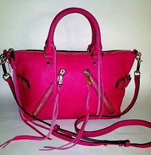 Rebecca Minkoff NWT Moto Satchel Shoulder Bag Pebble Leather Fuchsia Pink $335