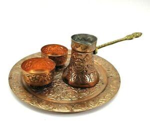 Vintage Copper Kettle Turkish Coffee Espresso Set  Cups Tray