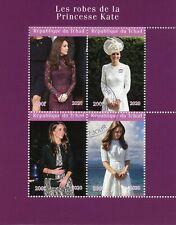 Chad Royalty Stamps 2020 CTO Princess Kate Middleton Dresses Fashion 4v M/S