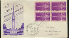 Golden Gate Exposition 1939 addressed  Cachet FDC BLOCK Unsealed LOT A258