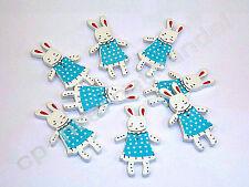 8 HOLZKNÖPFE - Kinderknöpfe - Hasenmädchen-blau