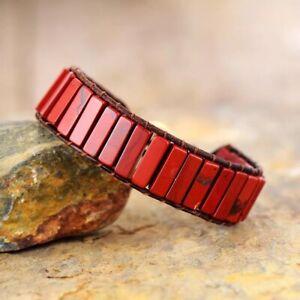 Crystal Bead Friendship Bracelet Square Tube Red Jasper Chakra Leather Red