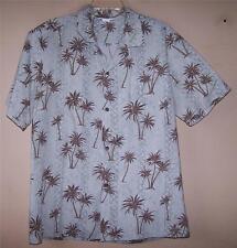 Men's Large 4784 MADE IN HAWAII Tan Brown Palm Floral  HAWAIIAN Button Shirt