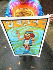 "Vintage NOS 1971 Hippie Poster ""PEACE"" Rare Vagabond Creations"