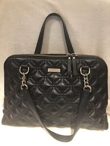 Authentic  Kate Spade Black Quilted Leather Handbag Purse