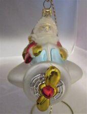 Polonaise Kurt Adler Santa Claus w/ Prop Plane Glass Christmas Ornament NWOT