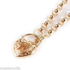 18K Yellow Gold Filled Filigree Heart Padlock Belcher Chain Necklace (N-174)
