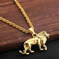 Fashion Men Gold Plated Lion Animal Pendant Long Metal Sweater Chain Necklace