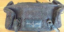 "BABY PHAT Small Handbag Purse Black Silver Cat Logo Print 12L x 5 1/2W x 4"" Deep"