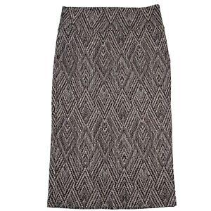 LuLaRoe IVY Midi Length Pencil Skirt Dark Brown Chevron Diamond Pattern XL